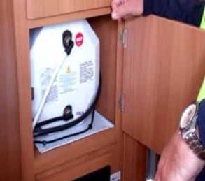 Caravan hot water system
