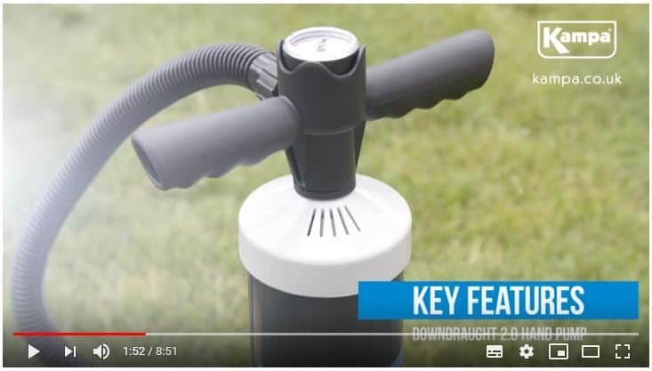 Kampa Inflatable Caravan Air Awning Downdraught Inflation Pump