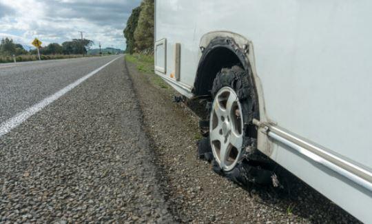 Caravan Tyre Blowout