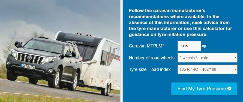 TyreSafe caravan tyre pressure calculator