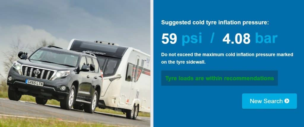 TyreSafe caravan tyre pressure calculator example results