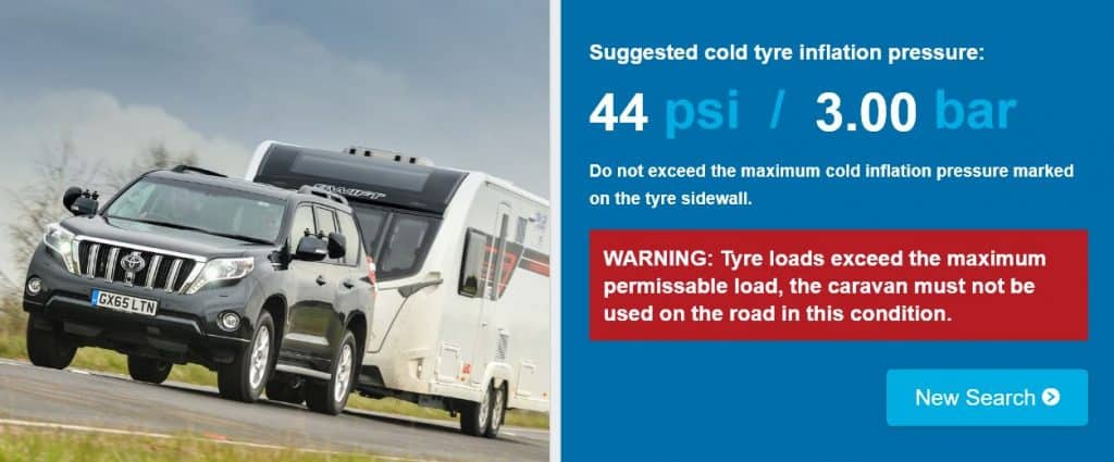 TyreSafe caravan tyre pressure calculator false result