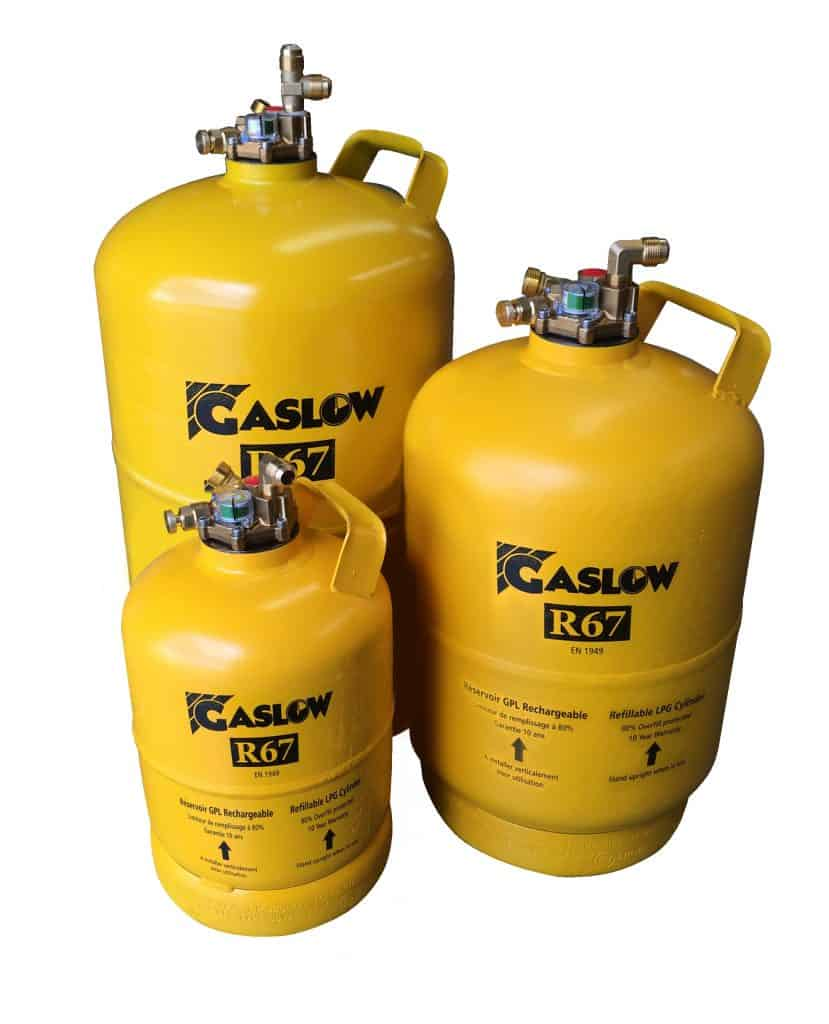 GASLOW refillable LPG bottle sizes for caravans and motorhomes