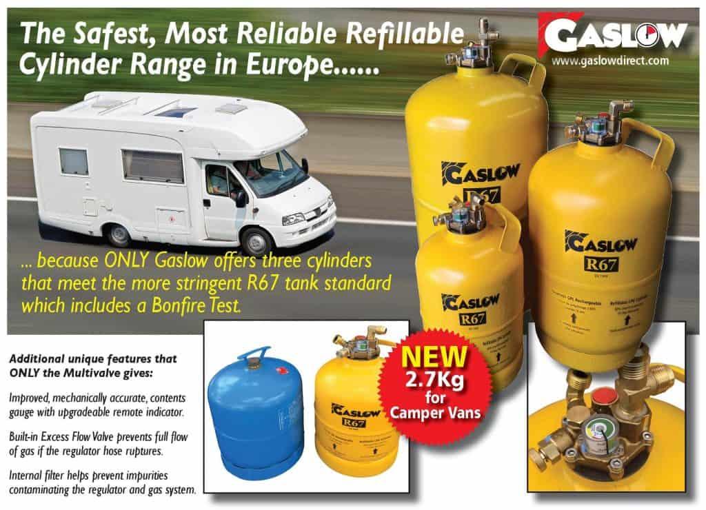 GASLOW refillable LPG bottles for caravans and motorhomes