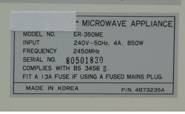 Microwave Oven Input Power