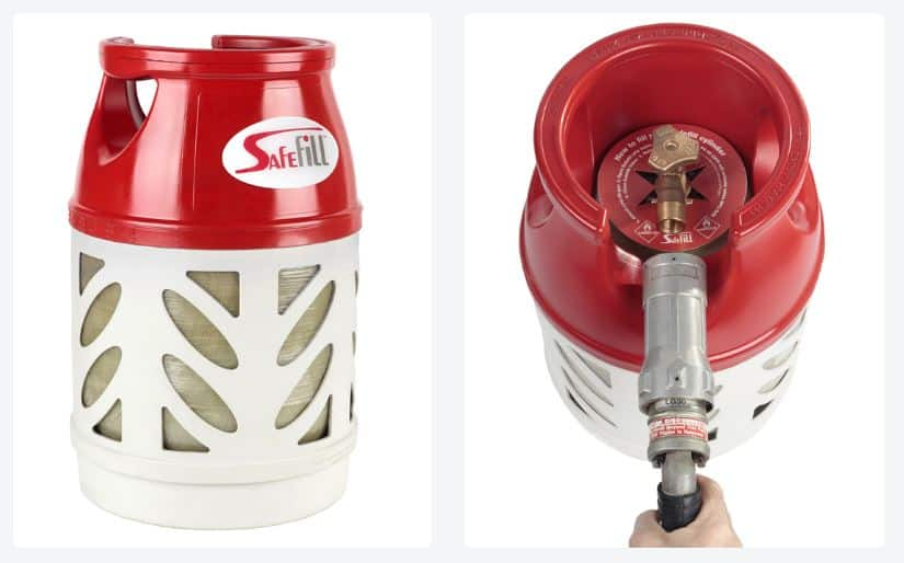 Safefill refillable LPG bottles for caravans and motorhomes