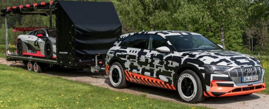 Audi e-tron towing a trailer