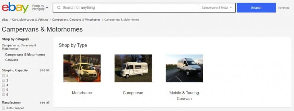 eBay Motorhome Private Sales