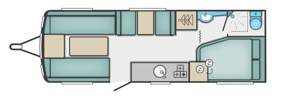 Fixed Rear Corner Bed Caravan Layout