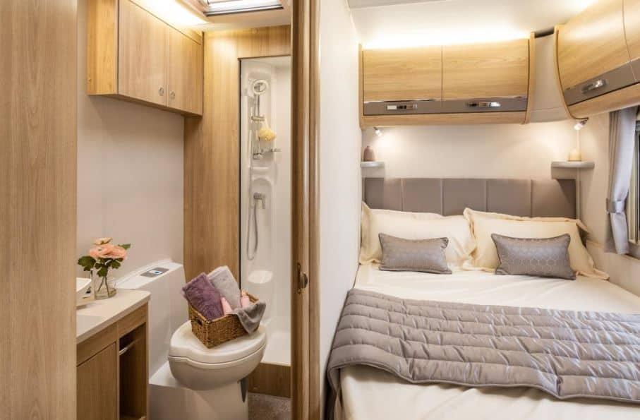 Fixed Rear Corner Double Bed Caravan Layout