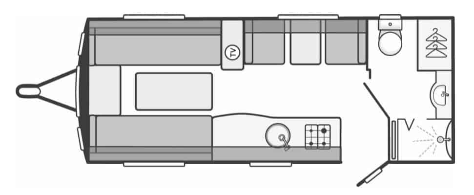 Large Rear Washroom Caravan Layout