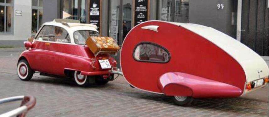 Bubble Car Towing a Teardrop Caravan